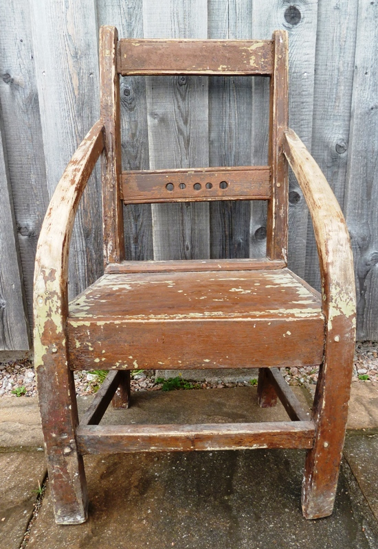Vernacular chair made from driftwood and parts of a clinker-built boat.
