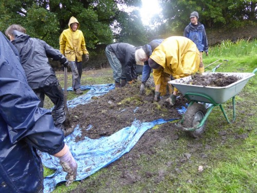 Finishing up and clearing the site, again in torrential rain.