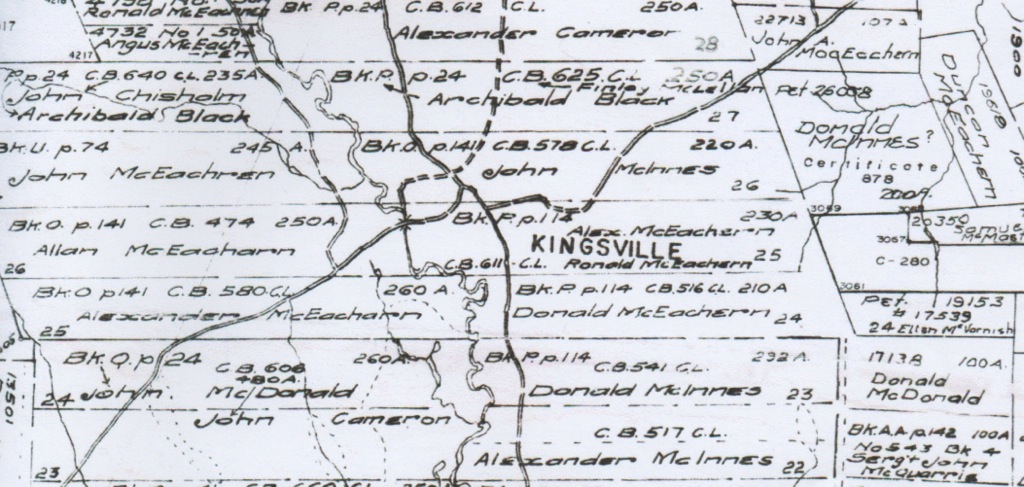 LISDD:2009.N10 Map of the original holdings near Kingsville, Cape Breton. Archibald Black's land (holding 27) was to the north of Kingsville. (collected in Canada by the late Donald Black)