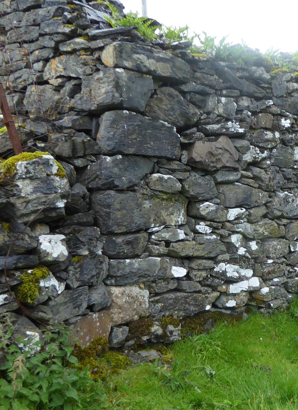 Blocks of Morvern sandstone in walls near the church
