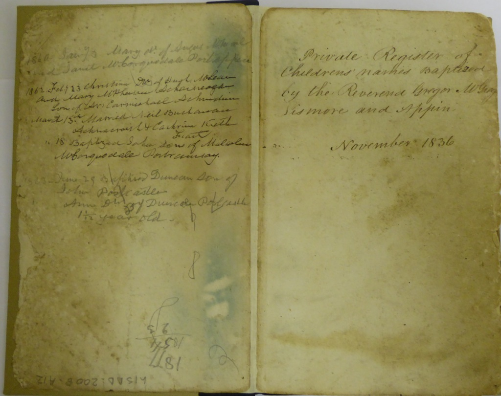 Title pages of Rev Gregor McGregor's Private Register