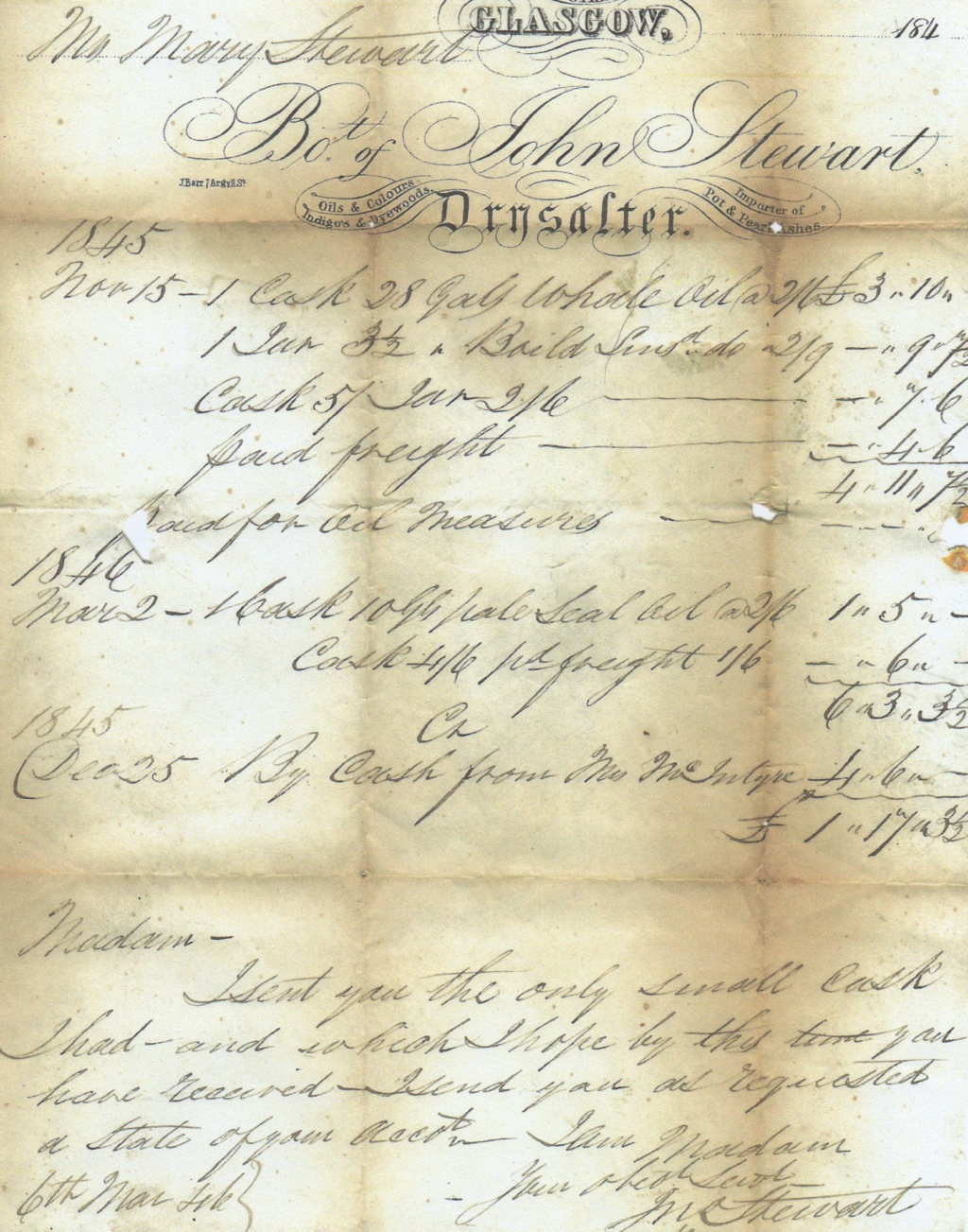 Original 1845 invoice for whale oil, boiled linseed and seal oil (LISDD:2012.S1)