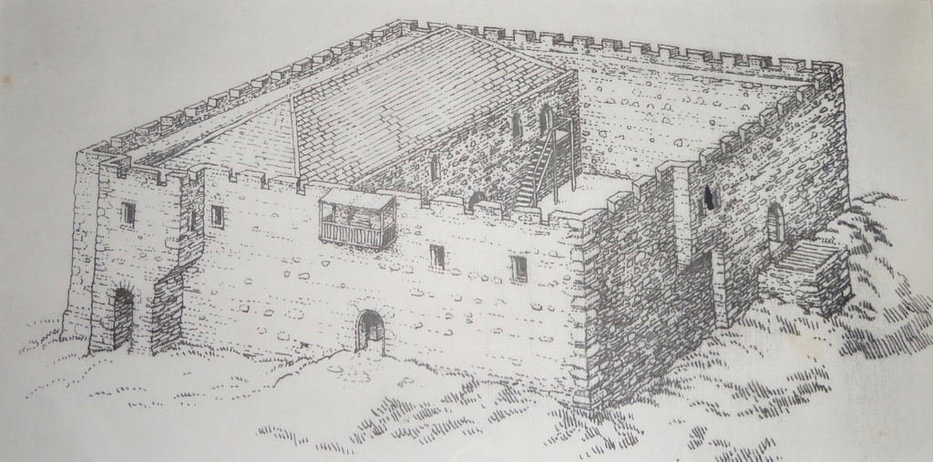 Artist's impression of the intact castle by Ted Odling