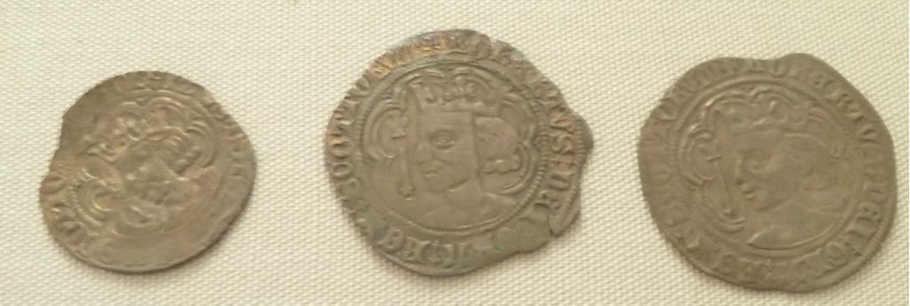 Robert II coins. The central groat diameter 27mm